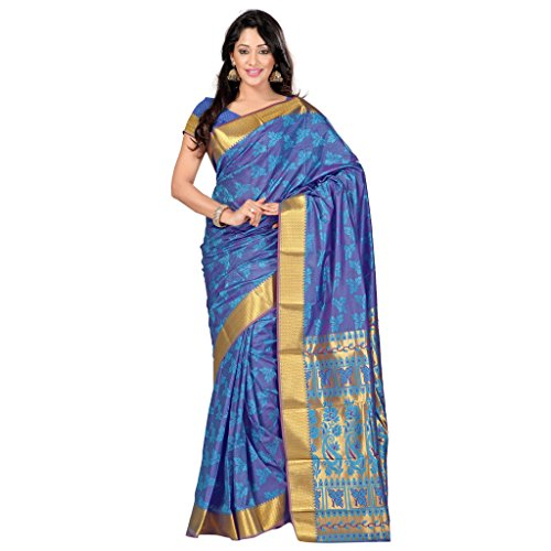 Varkala Silk Sarees Women's Art Silk Kanchipuram Saree With Blouse Piece(JP8104ADV_Turquoise Blue_Free Size)
