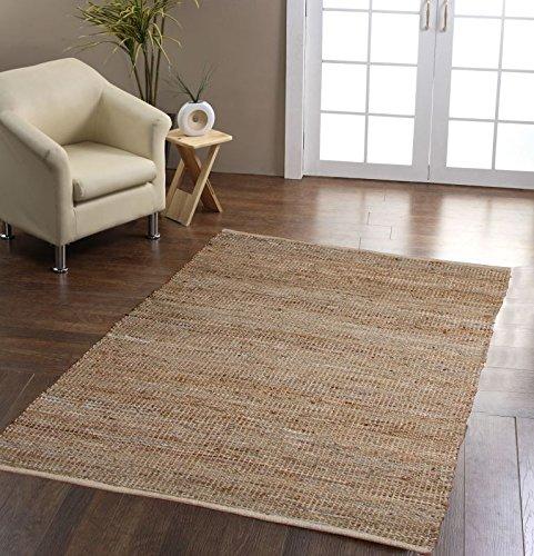 Reinigen Hanf-teppich (Homescapes Leder Hanf Teppich Madras 150 x 240 cm natur aus recycelten Echtlederstreifen und Hanffasern)