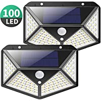 Solar Lights Outdoor, Kilponene Upgraded 100 LED Solar Motion Sensor Security Lights [1800mAh] Solar Wall Lights 270º Solar Powered Lights Waterproof Solar Lamp with 3 Modes for Garden [2 Pack]