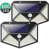 Luz Solar Exterior, Kilponen 100 LED Foco Solar Exterior Gran Ángulo 270° con Sensor de Movimiento 1800mAh Lámpara Solar Impermeable Solares de Pared de Seguridad 3 Modos para Jardín [2 Paquete]