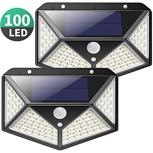 Kilponen 100 LED Foco Solar Exterior led Luz Solar con Sensor de Movimiento Luces Solares Impermeable Inalámbrico Lámparas Solares de Pared Seguridad 3 Modos inteligente para Jardín, Patio, Pared, Garaje, Camino de Entrada, Escaleras Especificaciones...
