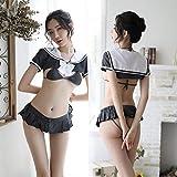 Erotische Unterwäsche Damen süße sexy Dreipunkt Student Anzug Anzug Leidenschaft Uniform-Grauweiß Sexy Dessous sexy
