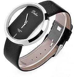 Fulltime(TM) Black Leather Transparent Dial Fashion Lady Girl Wrist Quartz Watch Gift