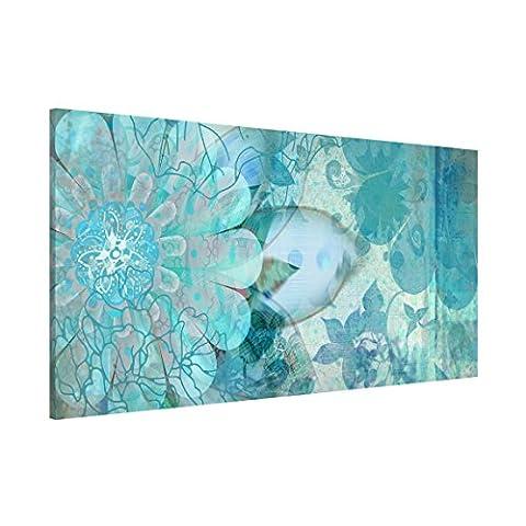Apalis 108863 Magnettafel Winterblumen Memoboard Design Quer Metall Magnet Pinnwand Motiv Wand Stahl Küche Büro, 37 x 78 cm