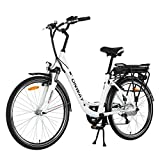 Onway 26 Zoll Damen City E-Bike, Trekking Rad, Präzise SHIMANO 6-Gang, 36V Lithium-Akku
