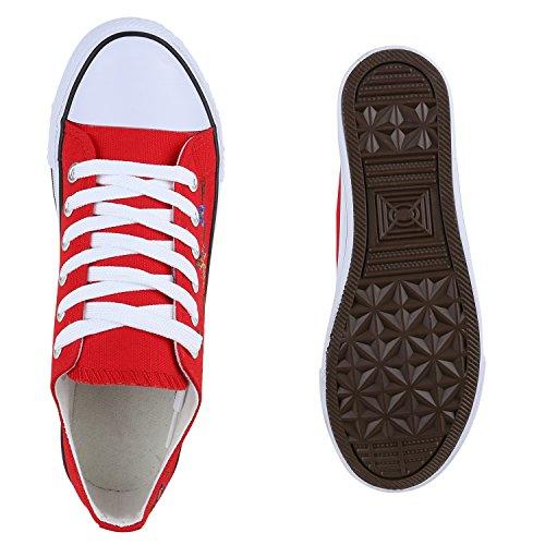 Damen Sneakers Spitze | Denim Sportschuhe Strass | Stoffschuhe Blumen Prints | Textil Schuhe | Sneaker Low Rot Blumen