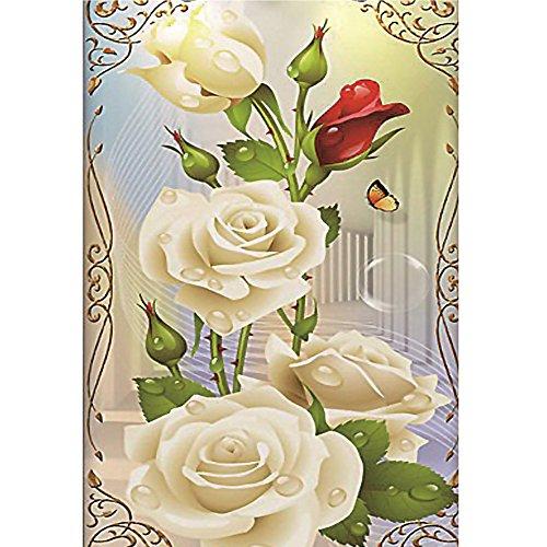 5D Diamant Malerei Weiss Rose Deluxe Edition Rechteck sunnymi DIY Stickerei Painting Kreuzstich Diamond Dekoration (30x40cm) (Lila Und Weiß-malerei)