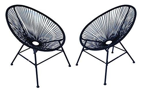Schwarzen Stühlen (Lounge Sessel Veracruz | Acapulco Stuhl | 2er Set Schwarz | Gartensessel | Gartenstuhl | Witterungsbeständig | Sitzfläche aus Polyrattan | Gestell Aus Pulverbeschichtenen Stahl | Für Innen Und Außen)