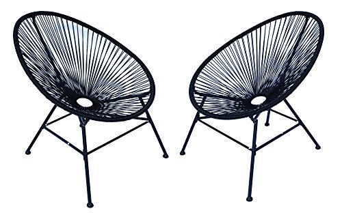 Lounge Sessel Veracruz | Acapulco Stuhl | 2er Set Schwarz | Gartensessel | Gartenstuhl |...