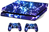 Blue Electric Sticker/Skin PS4 Playstation Console & Remote controller stickers, ps4sk15