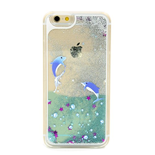iPhone 6 Hülle, iPhone 6S Schutzhülle, Hamyi Glänzend 3D Dynamisch Flüssigkeit Funkeln Treibsand transparent Hart Kunststoff Schalen für iPhone 6 und iPhone 6S (4,7 Zoll) (Die Hamsa Hand) Blau Pinguin