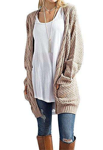 CNFIO Pullover Damen Strickjacke Lässig Casual Cardigan Langarm Outwear mit Taschen Mantel Jacke Winter Khaki S