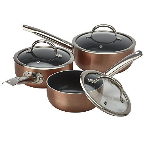 3 Piece Ceramic Saucepan Set Non-Stick Double Layered Gas, Electric, Induction & Ceramic Hob Compatible Light-Weight Glass Lids by Cooks Professional (Copper Outer/Grey Interior)