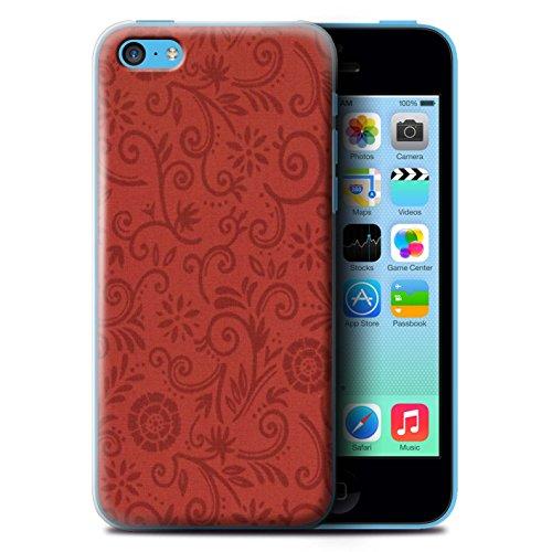 Coque de Stuff4 / Coque pour Apple iPhone 5C / Fleur rouge Design / Motif Remous floral Collection / par Deb Strain / Penny Lane Publishing, Inc. Fleur rouge