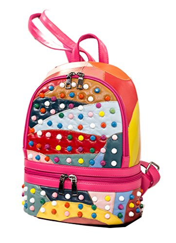Yan Show Damen PU Stitching Schultertaschen Niet Rucksack Schlagfarbe Schultasche Mehrfarbig