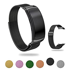 Moorovgi For Samsung Gear Fit 2 /Gear Fit 2 Pro Straps,Milanese Loop Stainless Stell Mesh Strap Watch band With Connector for SamSung Gear Fit 2 SM-R360/Gear Fit 2 PRO smartwatch tracker