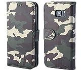 Galaxy S7 Edge hülle,Camouflage hülle,Bookstyle Handyhülle Premium PU Leder und TPU Tasche Flip Case Brieftasche Etui Handy Schutz Hülle für Samsung Galaxy S 7 Edge - Camo Grun