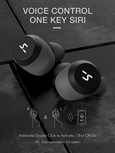 HAVIT TWS Bluetooth Kopfhörer Kabellose in Ear V5.0, True Wirelss Stereo Sport Ohrhörer, IPX5 Wasserdicht, 18 Stunden Abspielzeit, Eingebautes Mikrofon für iPhone,Samsung und Huawei, HTC,G1 Schwarz - 7