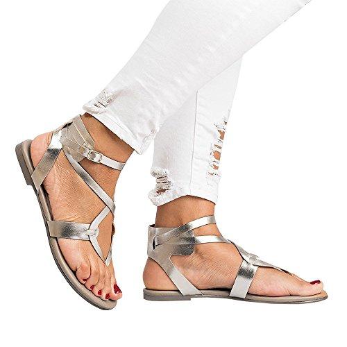 Beikoard Promozione della Moda Sandali Donna Taco Sandali Donna Estate Sandalo Incrociato con Cinturino alla Caviglia (Argento, 41)