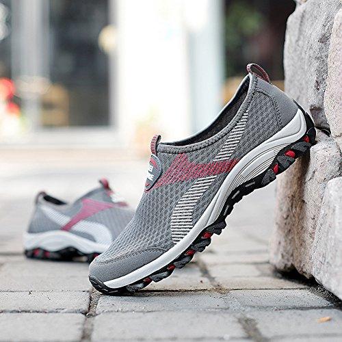 Gomnear Chaussures respirantes Poids léger Hommes Glisser sur Été Engrener Décontractée Au volant Chaussure Mode De plein air En marchant Gris
