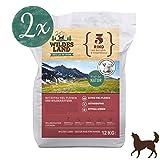 Wildes Land | Trockenfutter für Hunde | Nr. 5 Rind | 24 kg | mit Kartoffeln und Wildkräutern | Glutenfrei & Hypoallergen | Extra viel Fleisch | Alle Hunderassen | Beste Akzeptanz und Verträglichkeit