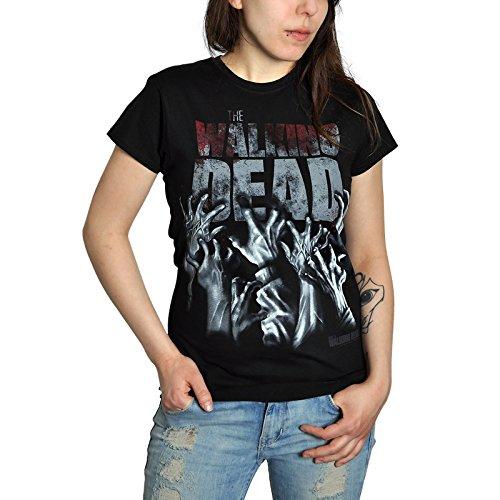 Walking Dead - T-shirt per ragazza con motivo Hands Blood - Tratta dalla serie horror - Grande stampa frontale - Licenza ufficiale - Nero - S