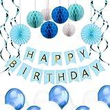 YeeStone Geburtstag Dekoration Party Dekoration Deko Geburtstag Kindergeburtstag Deko mit 6pcs Wabenbälle, 30pcs Große Geperlte Ballons, 1 Set Happy Birthday Banner, 1 Set Wimpel Banner (Blau)