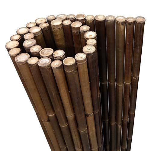 DE-COmmerce Extremo Estable Madera Bambú Valla Ocultación Valla XL Paravientos con Sim y Selladas Bambusrohren - Nigra, 180 x 200 cm