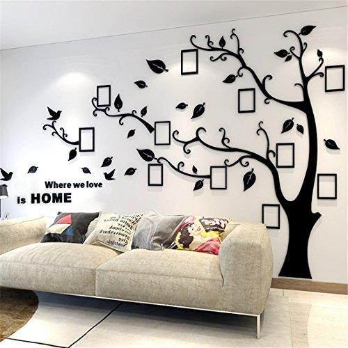 Guangmu Wandaufkleber mit Bilderrahmen 3D Wandtattoos Wandsticker Speicher Foto Acryl Baum Sticker für Hause Dekorationen Kunst (Schwarz Links, L(230 * 164.3CM))