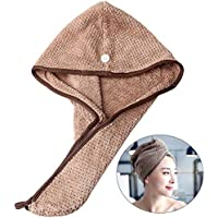 nuoshen Brown Hair Towel,Super Absorbent Dry Hair Cap Soft Shower Caps for Women