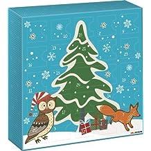 """Fun Collection - Fuente de adviento """"búho y fox"""" - tamaño: 26 x 26 x 5 cm - alternativa al chocolate"""