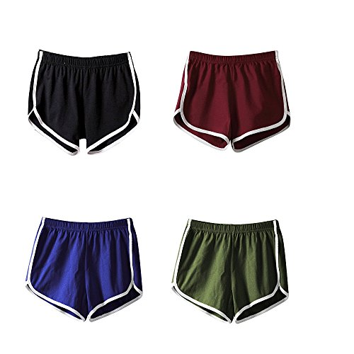 Mangotree Damen Sport Shorts Retro Shorts Aktiv Yoga Shorts Hose mit Farbig Abgesetzen Rändern (EU S=Tag L (Taille: 58-62cm), 4 Stück(Schwarz+Weinrot+Blau+Grün)) -