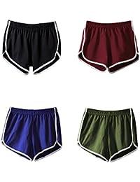Mangotree Damen Sport Shorts Retro Shorts Aktiv Yoga Shorts Hose mit Farbig Abgesetzen Rändern