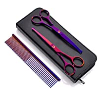 MINLIDAY Pets Grooming Scissors, 2pcs SAFETY ROUNDED Tips Scissors Set for Dogs Cats, Safety Cutting Shears + Curved Shears + Grooming Comb for pets in Stainless Steel, 6.5 inches