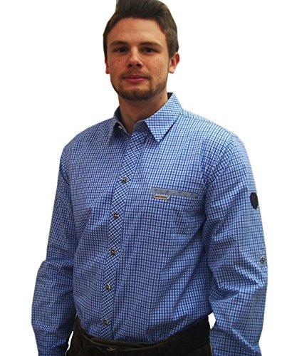 Spieth & Wensky Klassisches Herren Trachtenhemd Blau Weiß Kariertes Herrenhemd Edwin Langarm Blau 37/38