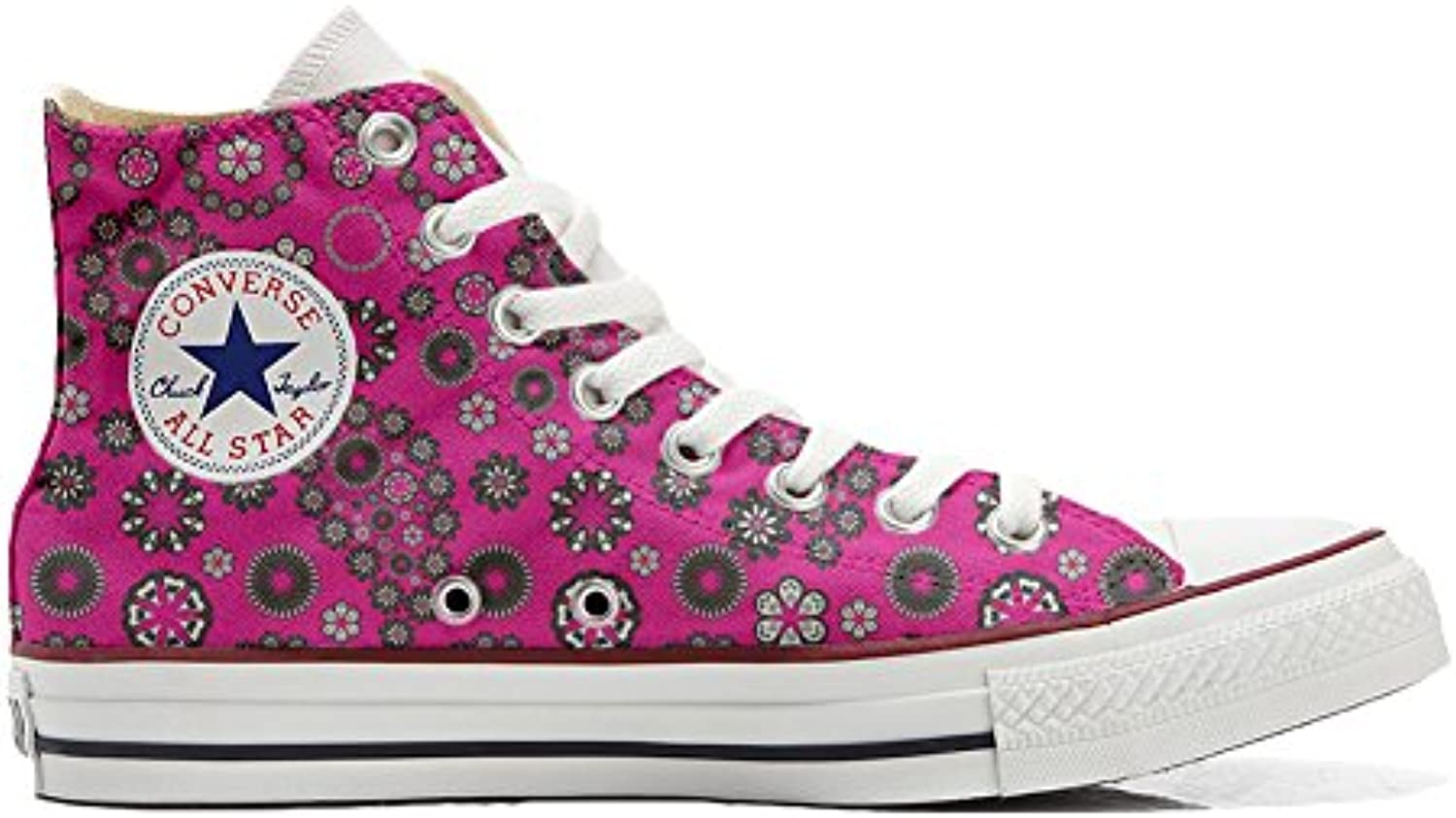 Converse All Star Customized - Zapatos Personalizados (Producto Artesano) Hot Pink Paysley  -