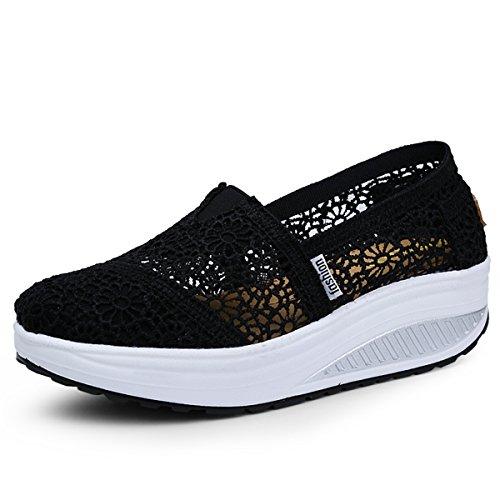 Donna scarpe mesh platform dimagranti sportive basculanti fitness scarpe da ginnastica sneaker zeppa summer