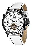 Calvaneo 1583 Herren-Armbanduhr Astonia Black & White Analog Automatik Leder weiß 106976