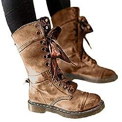 VJGOAL Damen Stiefel, Damen Chic Retro Flower Prints Militär Stiefel Casual Leder Mitte rutschfeste Runde Toe Lace-Up Frühling Herbst Schuhe(Khaki, 39 EU)