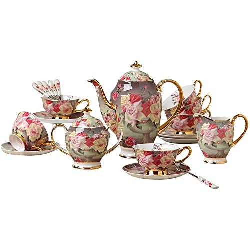 TRER Europa Vintage Rose Bone China Kaffeeservice Britisches Porzellan Teeservice Keramiktopf...