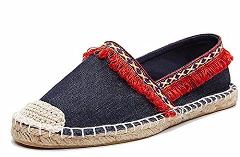 Damen Klassische Flach Loafer Slipper Espadrilles, Quaste Slip-ons, Schuhe SchleifenRot