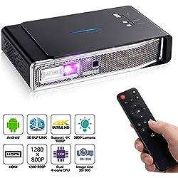 OTHA V5 Mini Projecteur, Pico Projecteur, 4K Vidéoprojecteur Full HD 3800 Lumens, 1280x800, 12000:1, Projecteur Portable Android DLP Link 3D, Supporte USB IR 4K HDMI AV