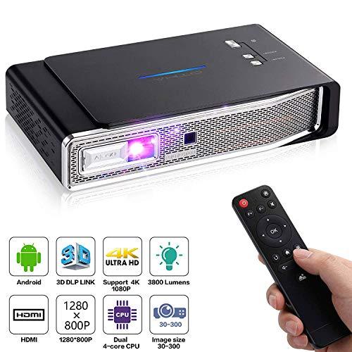 Mini Projektor WiFi Android DLP Mini Beamer 1280x800 Unterstützung 4K /1080P /3D /HDMI , Max300 Zoll Full HD Heimkino Projektoren Kompatibel mit Fire TV Stick USB