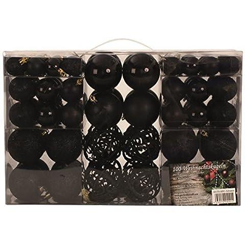 Set de 100x bolas exclusivas para árbol de navidad, negro