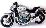 Wanduhr in Form Motorrad-Schwarz und Grau
