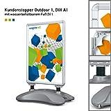 Plakatständer DIN A1   ✓ Kundenstopper   ✓ Werbetafel   ✓ Gehwegaufsteller Outdoor 1 (mit Wasserfuß und Stahlfedern)