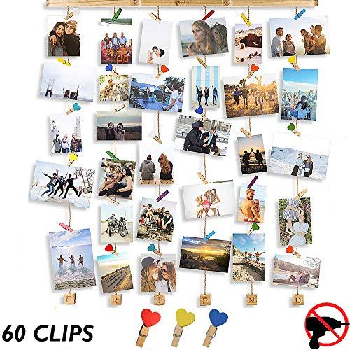 Cornici foto multiple da parete - portafoto da parete multiplo - no trapano - porta foto da parete multiplo da appendere - portafoto con mollette - cornici foto da appendere - cornice foto - loolha