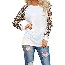 Camisetas Cuello Redondo Manga Larga Mujer Camiseta Interior Para Dama Camisas Estampadas Camisa Leopardo Top Chica Blusas Bonitas Señora Remera Remera de Manga Larga Blusones Sudaderas