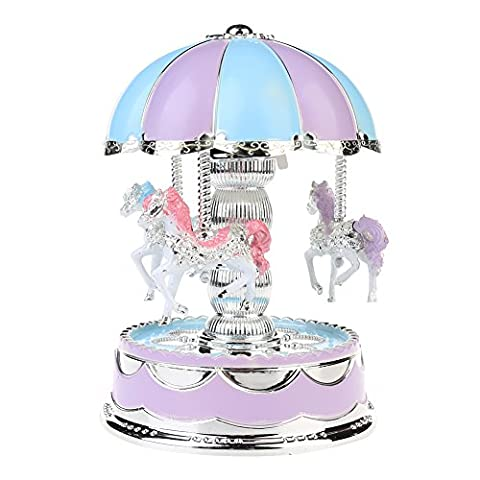 Carousel Horse Music Box With Colorful LED Light, Dome merry-go-round music box (Go Round Box Musica)