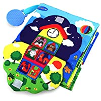 TEYTOY Soft Baby Crinkle 3D Touch Fabric Book - Zip,Button, Buckle, Lace, Early Learning Basic Life Skills Soft Toy for 0-3 Year Old